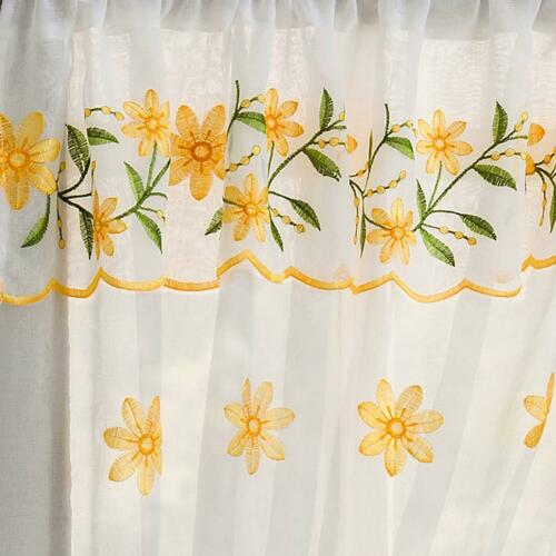 Daisy Lace  Floral Curtains Set Complete Window Ready Made Embroidered Yellow