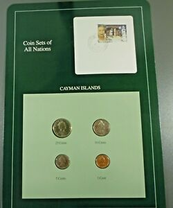 Coin Sets of All Nations Cayman Islands w//card UNC 10 ct 1987 1,5,25 cents 1990