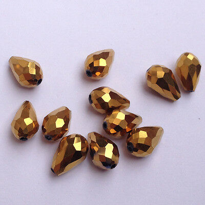 20pcs 8x12mm Teardrop Glass Faceted Loose Crystal Spacer Beads golden plated!!!