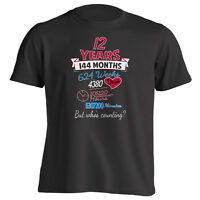 12th Anniversary Gift Couples Shirt 12 Years But Whos Counting T-shirt