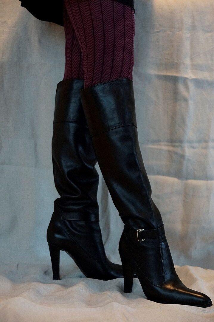 Schwarze Kniehohe Leder Stiefel von Zara in Größe 39