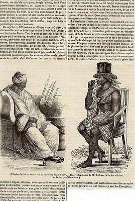 IMAN DE DAKAR ET ROI DE LA RIVIERE SAINT ANDRE PRESS ARTICLE 1841 PRINT