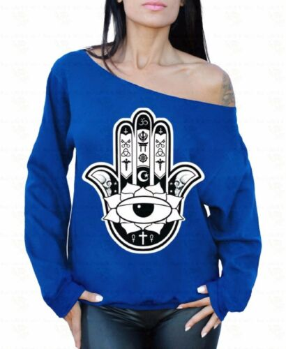 Spiritual Hand Off the shoulder oversized slouchy sweater sweatshirt Yoga Hamsa
