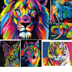 Rainbow-Animals-DIY-Paint-by-Numbers-Kit-Canvas-Easy-Painting-Frame-Unframed