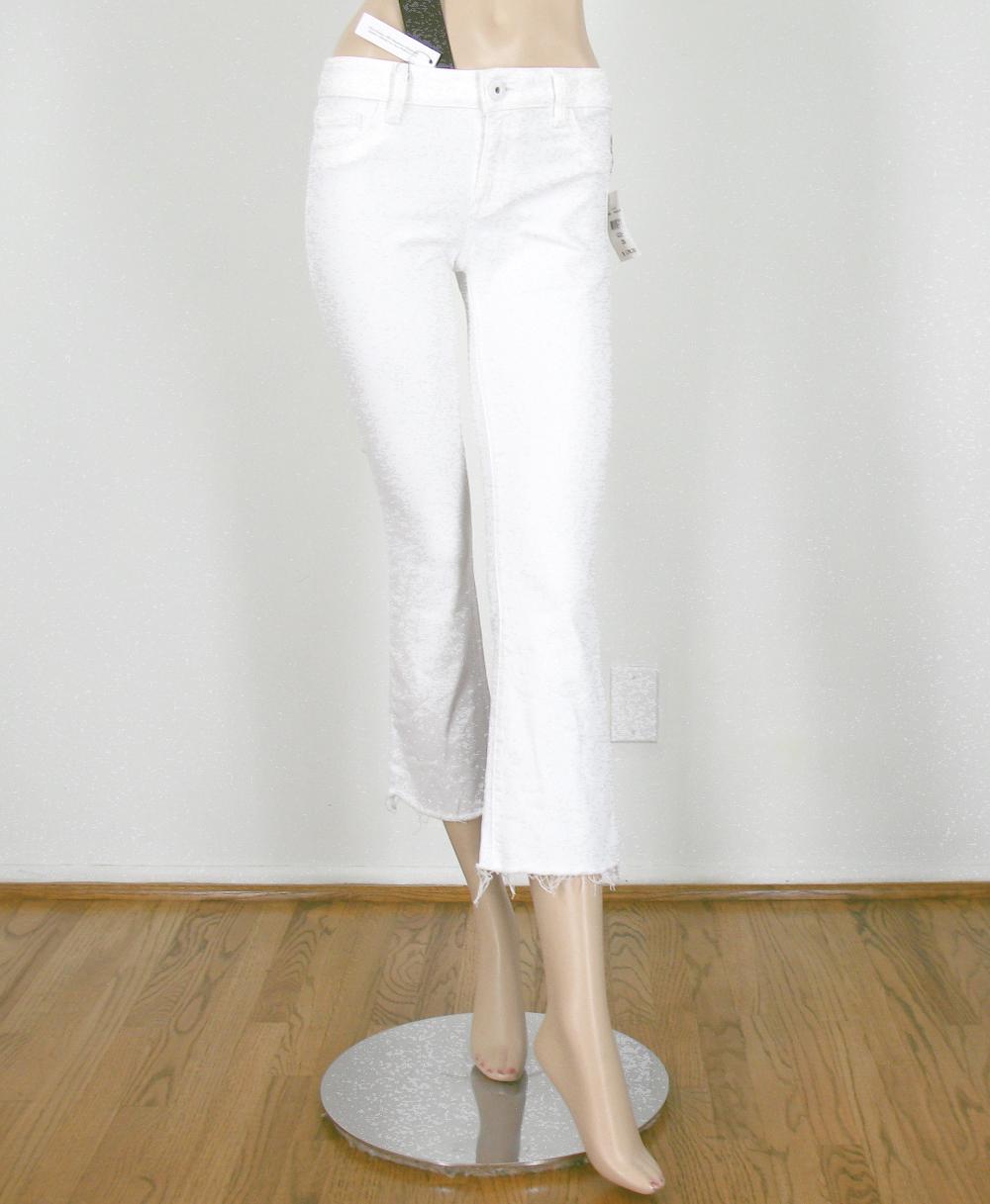 DL1961 Lara Bord Brut Court Jeans Évasé Porcelain Weiß 26 9865 BM14