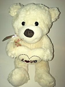 Dan-Dee-White-Love-Heart-Bear-12-034-Plush-Stuffed-Animal