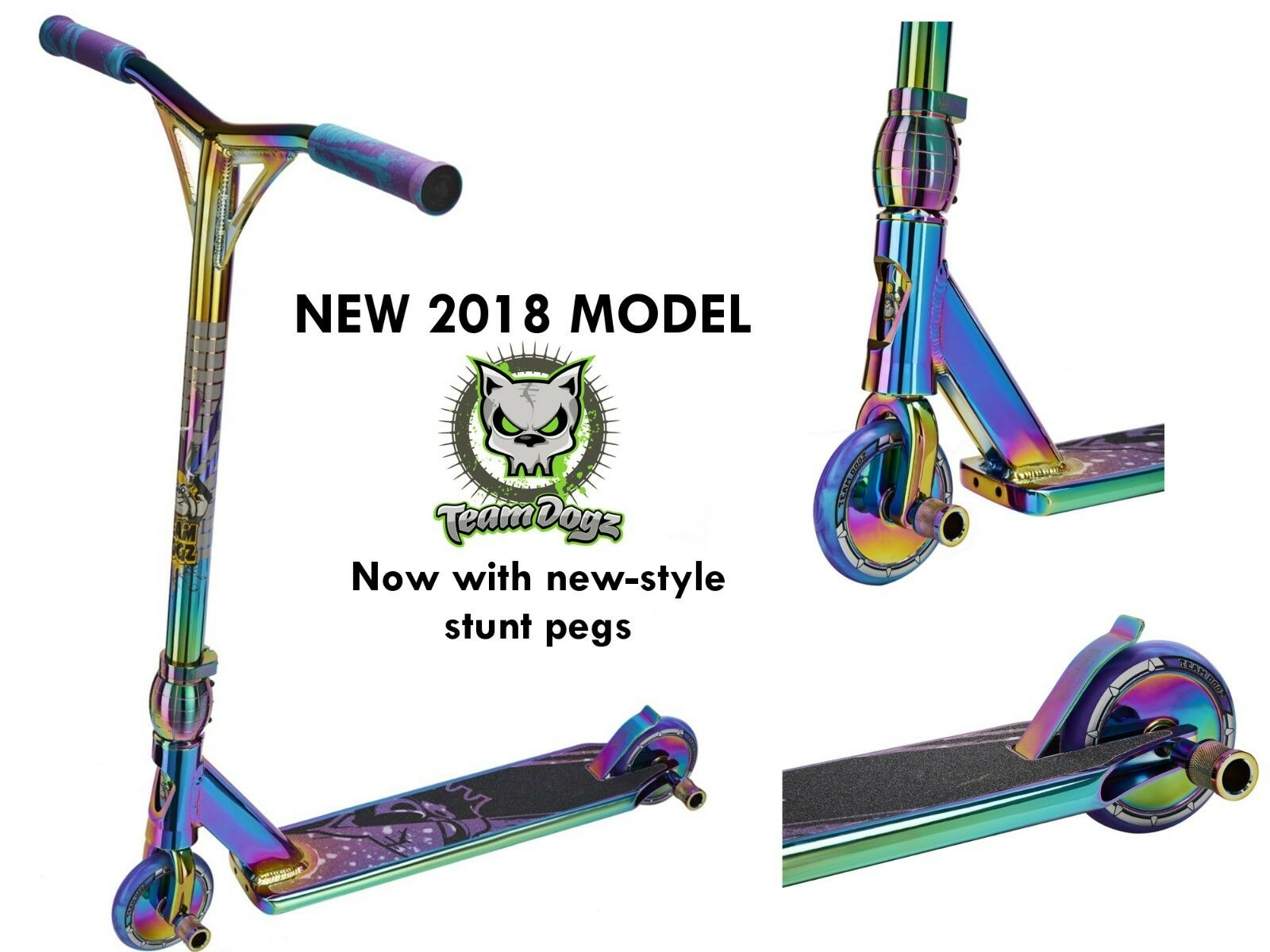 NEW TEAM DOGZ PRO 4 CUSTOM NEOCHROME RAINBOW ALUMINIUM STUNT SCOOTER