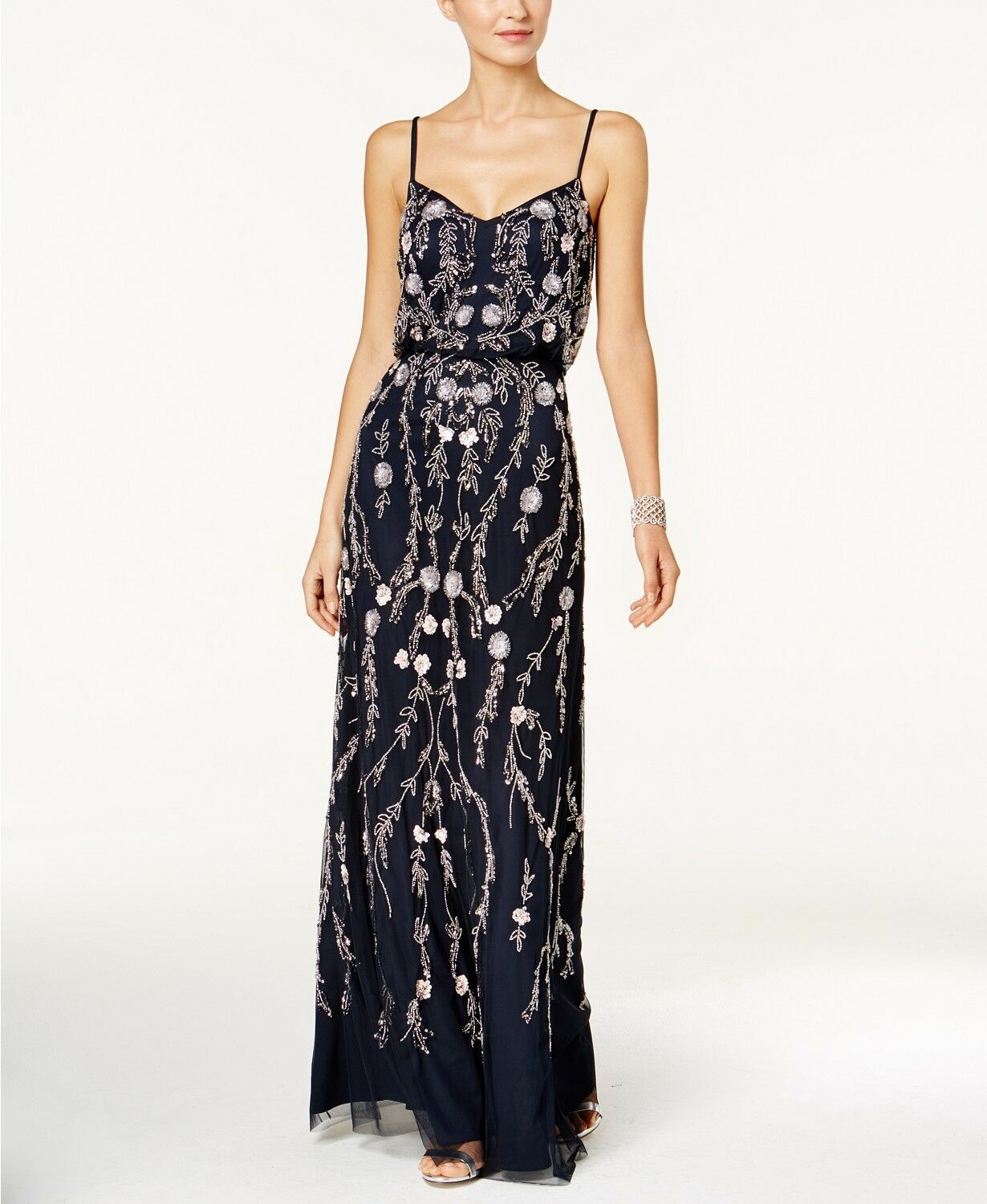 ADRIANNA PAPELL WOMEN'S blueE EMBELLISHED SEQUINS BLOUSON GOWN DRESS SIZE 6