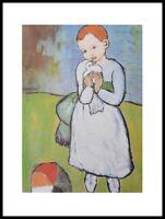Pablo Picasso Kind mit Taube Poster Kunstdruck mit Alu Rahmen in schwarz 50x40cm