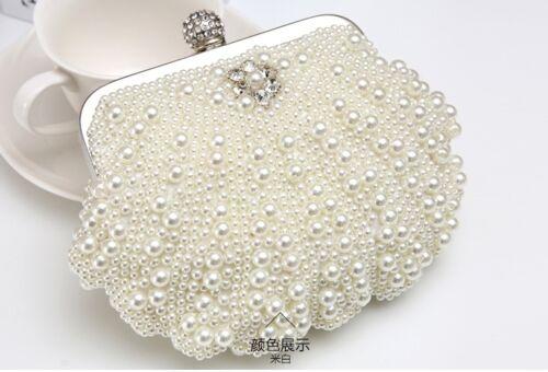 NUOVO BORSA SPOSA CLUTCH perle borsetta da sera borsa Matrimonio Perla
