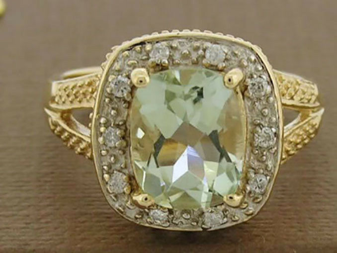 R175 Genuine 9ct 9K gold NATURAL Green Amethyst & Diamond Ring Cushion Solitaire