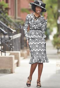 Appolina Skirt Suit Formal Ashro Dress Black White 12 14 16 16W 18W 22W 24W 26W