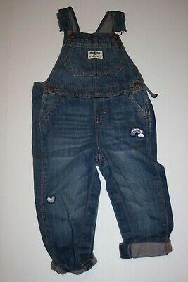 Baby Energetic New Oshkosh Girls Patch Rainbow Denim Jeans Overalls Vestbak Nwt 12m 18m 24m 4t