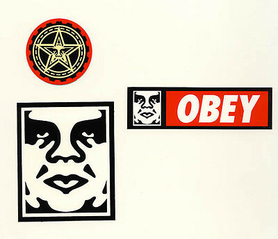Obey Street Art Sticker Andre the Giant Shepard Fairey Schwarz Rot 6,5x8cm