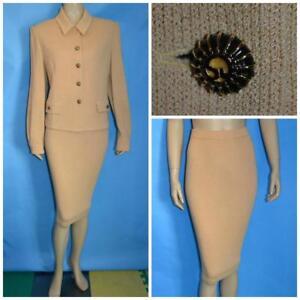 St John Collection Knit Tan Beige Jacket Skirt L 10 12 14 2pc Suit Animal Print