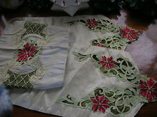 Gorgeous Christmas Poinsettia Beaded Table Runner ~ 75 x 14 inches ~ EUC