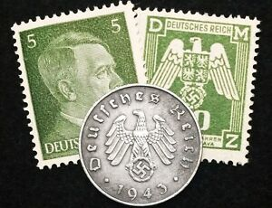 Authentic Rare German Coin and  Stamps WORLD WAR 2
