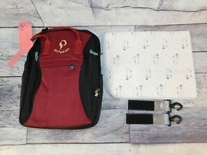 Pofunuo Backpack Diaper Bag Black and Maroon With A Blanket And Hooks