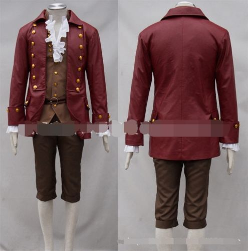 New Gaston Red Jacket Cosplay Costume Full Set Beauty and Beast Halloween A