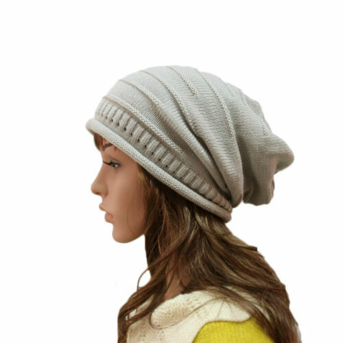 2x Unisex Winter Hat Beanie Hat Slouch Knitted Cap Ladies Mens hats 01