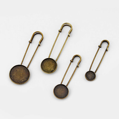 5x Antique Bronze 12-25mm Round Blank Brooch Safety Pin DIY Jewelry Findings