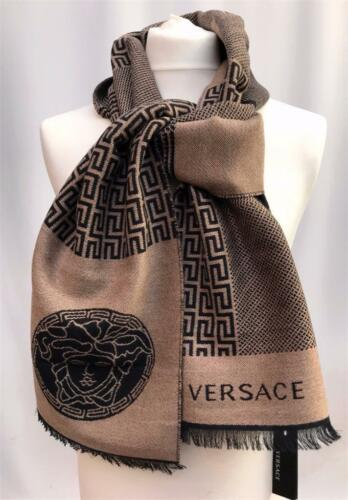 Versace Medusa Wool Beige Black Scarf Great Gift UNISEX Made In Italy Auth  NEW
