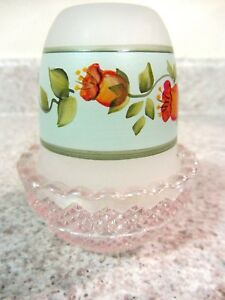 Details about Mosser Glass Rose Carnival/ Crystal Satin Handpainted Rose  Hips Fairy Light