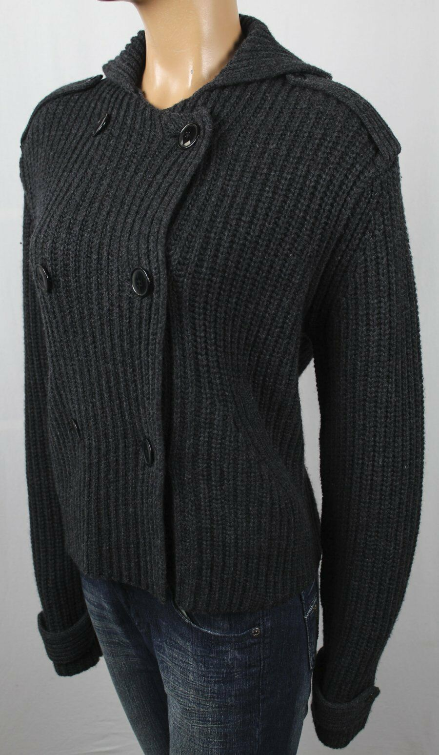 Ralph Lauren Grey Wool Cashmere Cable Knit Double Breasted Cardigan NWT
