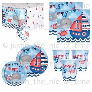 Image Is Loading 1st First Birthday Boys Blue Nautical Party Supplies