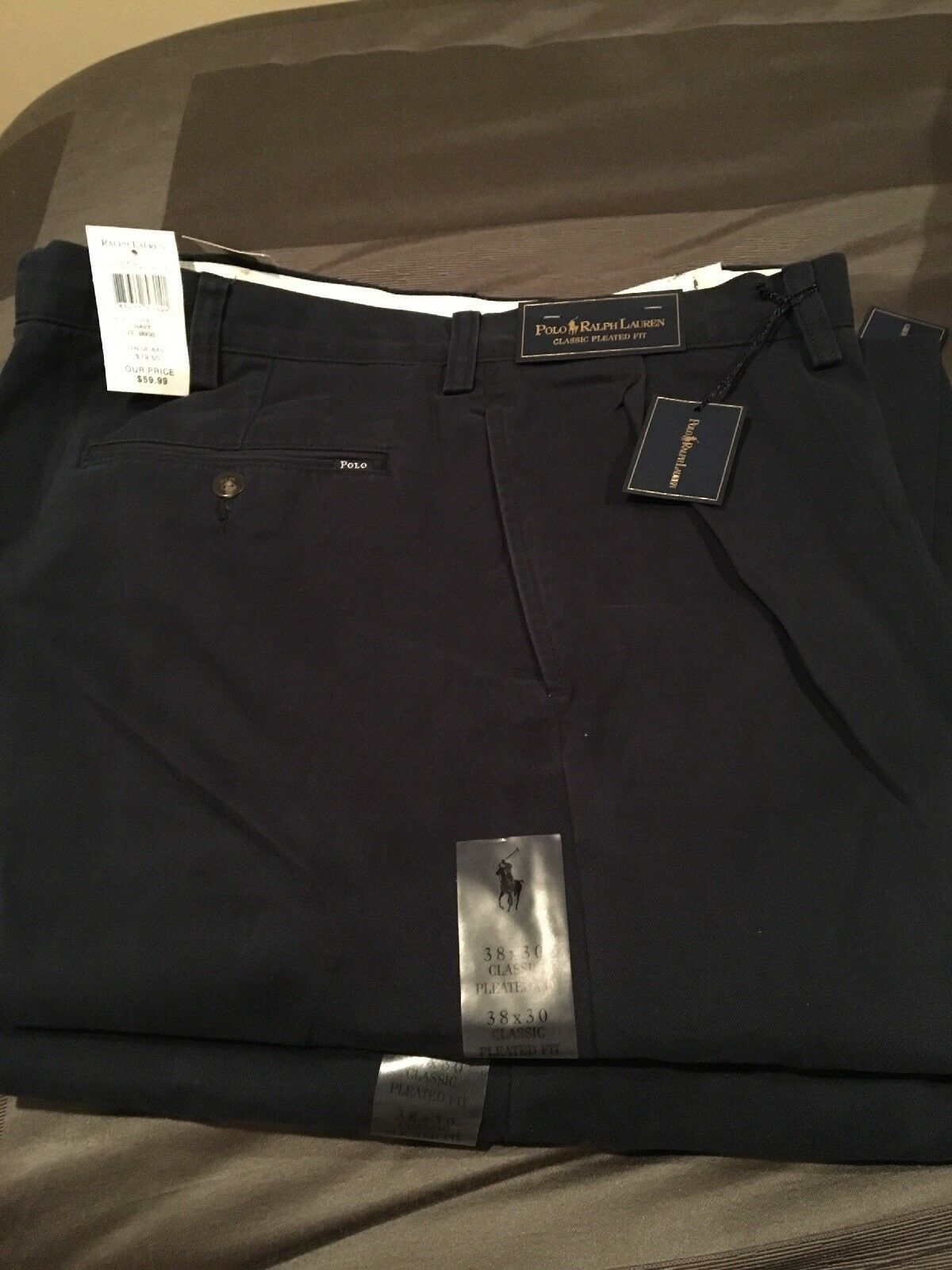 Polo Ralph Lauren Ethan Pants Aviator Navy Classic Pleated Fit Men's Size 38x30
