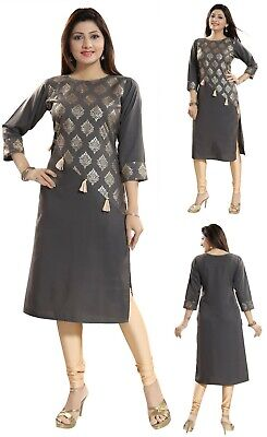 Women Indian Printed Ethnic Shirt Grey Kurti Tunic Kurta Shirt Dress SC2302