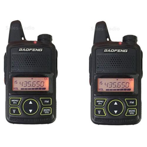 2x Baofeng BF-T1 Mini Walkie Talkie UHF 400-470MHz Ham Two-way Radio Transceiver