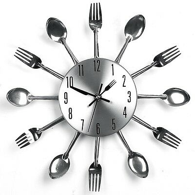 Modern Design Kitchen Utensil Spoon Fork Wall Clock Cutlery Sliver Aluminum
