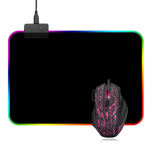 Gaming Mouse Pad RGB LED Light Color Switching For Computer Laptop Colorfull