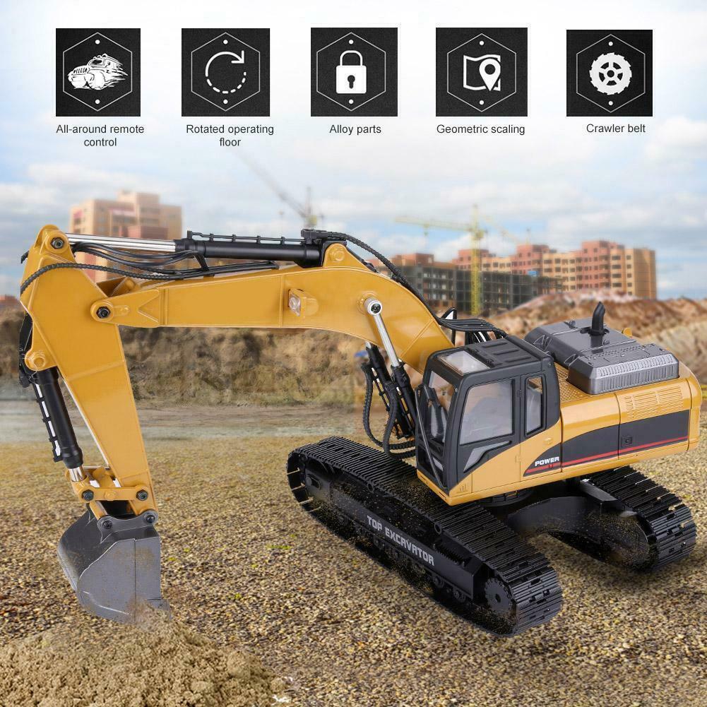 HUINA 1580 1 14 3in1 Full Metal Excavator RC Engineering Vehicle Christmas Gif