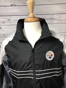 pretty nice 245a7 80167 Details about Pittsburgh Steelers NFL Reebok Team Apparel Windbreaker  Jacket Coat Size Large