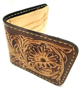Vintage-Engraved-tooled-Leather-Western-Wallet-Biker-Trucker-Billfold-handmade