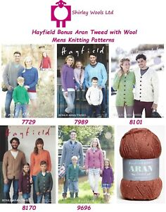 8c91d0065340 Hayfield Bonus Aran Tweed Mens Knitting Patterns