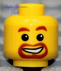 Kingdoms//Pirate//City Police NEW Lego Castle Male MINIFIG HEAD w//Red Brown Beard