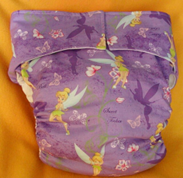 AIO (All In One) Adult Baby Reusable Cloth Diaper S,M,L,XL Tinkerbell Flowers