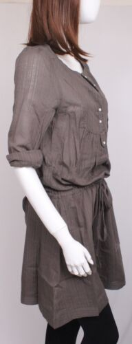 NEW WOMEN GRAY LONG SLEEVE TOP// DRESS// TUNIC WITH TIE AT WAIST SIZE  S+M