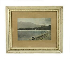 Antique 19th Century Photograph of New Hampshire Lake Mountain Scene Framed