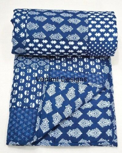 Small Baby Quilt Indian Block Print Comforter Bedspread Handmade Blanket Throw