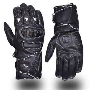 Gants-Cuir-Moto-Course-Phalanges-Carbone-Protection