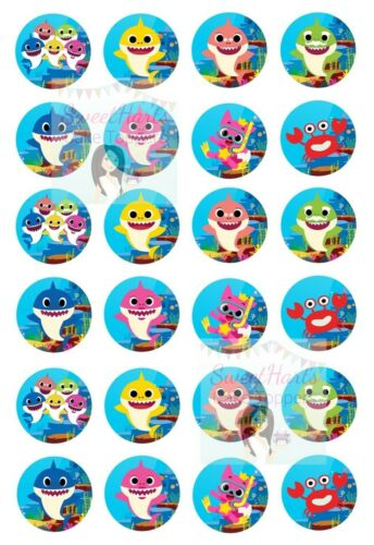 BABY SHARK CUPCAKE TOPPERS EDIBLE FAIRY CAKE DECORATIONS PINKFONG X24 (D1)