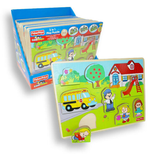 NEU Holzspielzeug 2 in 1 Spiel & Holzpuzzle Setzpuzzle Fisher Price