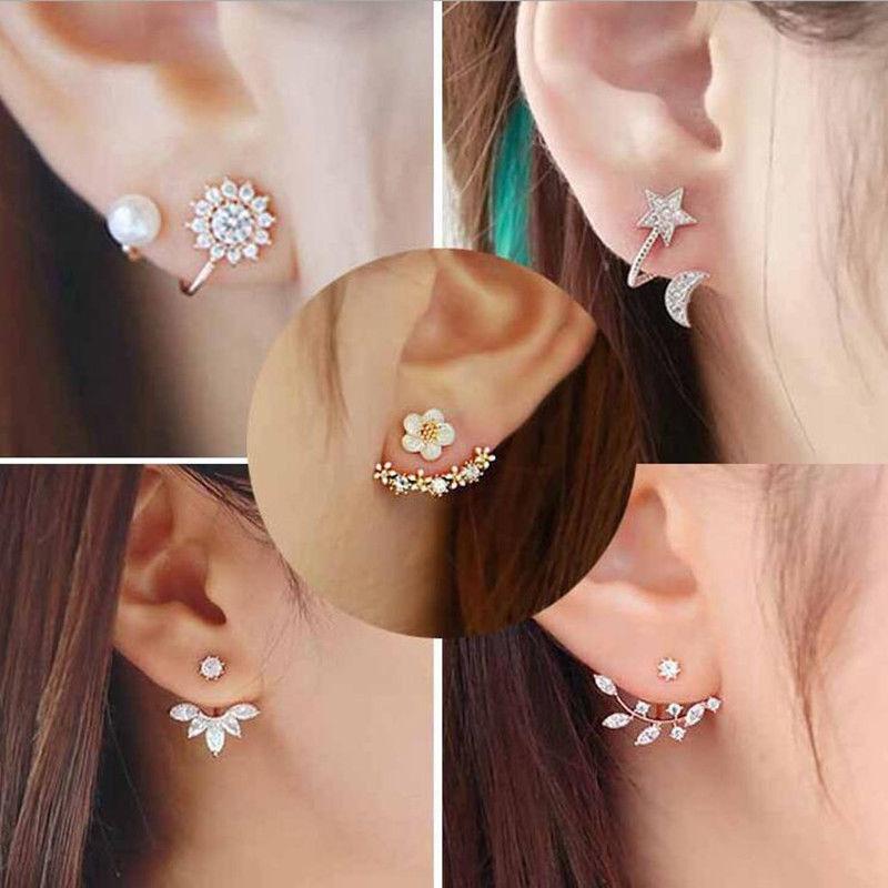 Lady Blue Pearl 1 Pair Elegant Crystal Jewelry Stud Earrings Rhinestone
