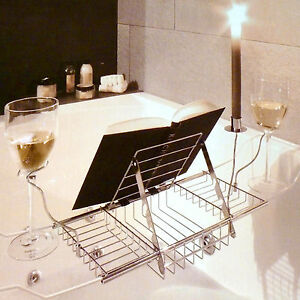 Adjustable Bath Rack Book Stand Bathtub Shelf Tray Glass