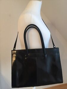 Details About Shopper Henkel Bag Black Genuine Leather Very Elegant Show Original Title