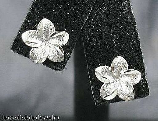10mm Hawaiian 14k White gold DC Matte Plumeria Flower Post Stud Earrings